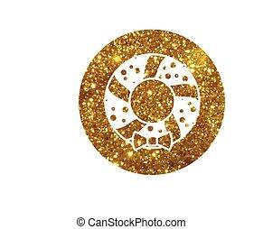 gouden, schitteren, kerstmis, deur, krans, versiering, lijn, pictogram