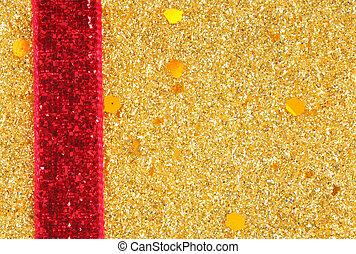 gouden, schitteren, lint, achtergrond