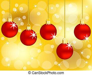 gouden, set, achtergrond, versieringen, hangend, kerstmis, rood