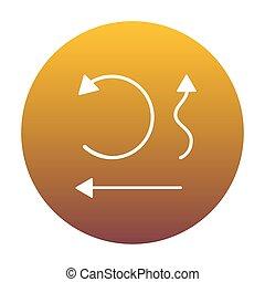 gouden, set, eenvoudig, pijl, interface, witte cirkel, pictogram