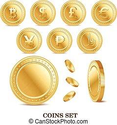 gouden,  Set, financiën, iconen, Vrijstaand, Valuta, munt