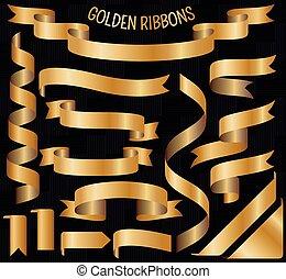 gouden, set, linten