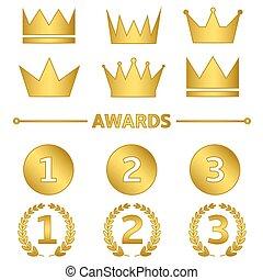gouden, set, toewijzen
