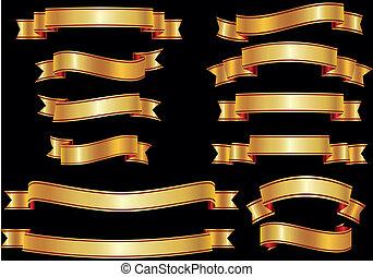 gouden, set, vector, verbod, linten, of