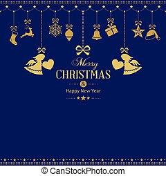 gouden, set, versieringen, hangend, engelen, kerstmis