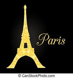 gouden, silhouette, parijs, eiffel, franse , paris., achtergrond., gloeiend, vector, black , oriëntatiepunt, toren, night.