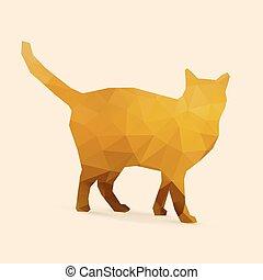 gouden, silhouette, veelhoek, kat