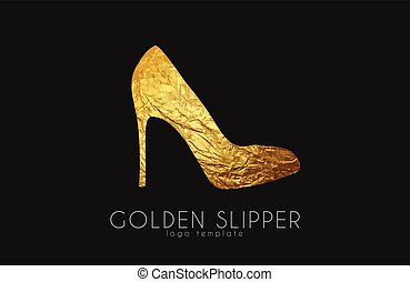gouden, slipper., pantoffel, elegant, mode, logo, prinsesje, design.