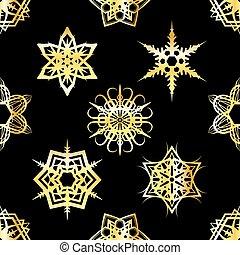 gouden, snowflakes, model, illustratie, tiled, achtergrond