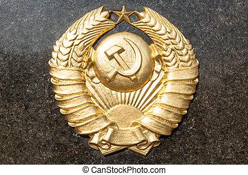 gouden, sovjet, cccp, embleem