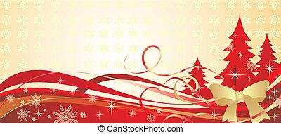 gouden, spandoek, kerstmis