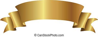 gouden, spandoek, krullend