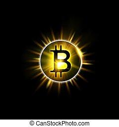 gouden, sparks., netwerk, licht, concept., blockchain, bitcoin, illustratie, symbool, cryptocurrency, achtergrond., plonsen, zon, gelijke, symbool, het glanzen