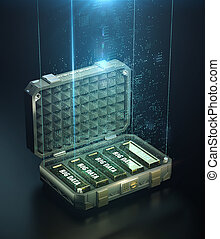 gouden, staaf, concept, render, moderne, hoog, kwaliteit, wolk, bigdata, gloeiend, digitale , 3d, atop., hen, volle, groot, brandkast, illustratie, woorden, wereld, data, geval, waarde, punten