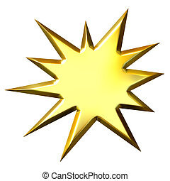 gouden, starburst, 3d
