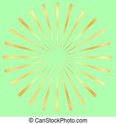 gouden, starburst, goud, balken, abstract, stralen, vorm., fuseren, lines., radiaal, zonnestraal, geometrisch, stralen, element., circulaire