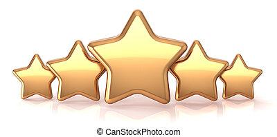 gouden, ster, goud, dienst, vijf, sterretjes