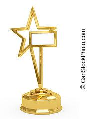 gouden, ster, prijs, op, voetstuk, met, leeg, wit bord