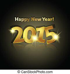 gouden, ster, weerspiegelende, verlichting, jaar, 2015