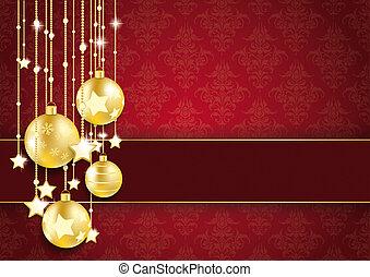 gouden, sterretjes, baubles, versieringen, rood