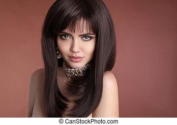 gouden, stijl, brunette, juwelen, hairstyle., beauty, bruine , gezonde , makeup, vrijstaand, gezicht, haar, achtergrond., studio, model., vrouwlijk, sexy, verticaal, meisje, glanzend