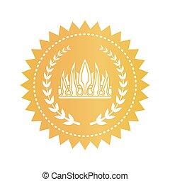 gouden, stijl, embleem, koninklijke kroon, gotisch, ronde