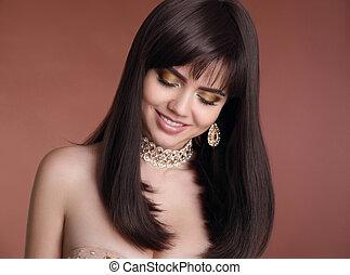 gouden, stijl, mode, juwelen, beauty, bruine , gezonde , set., vrijstaand, haar, achtergrond., brunette, studio, vrouwlijk, sexy, portrait., het glimlachen meisje, vrouwen
