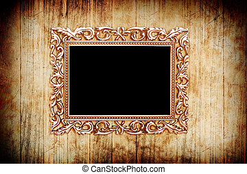 gouden, stijl, oud, foto, beeld, hout, achtergrond, frame