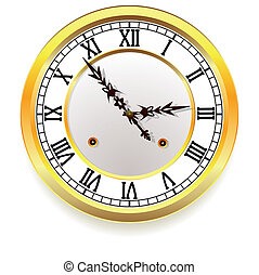 gouden, stijl, retro, clock.