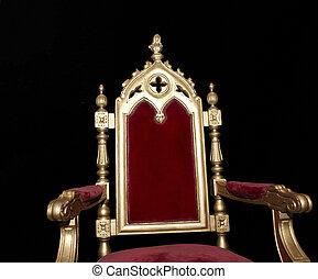 gouden, stoel, koninklijk, vrijstaand, black