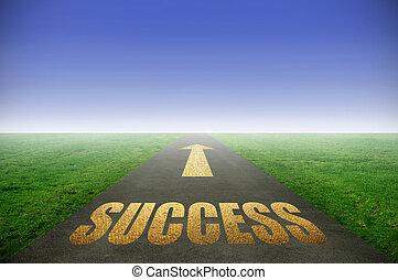 gouden, straat, succes