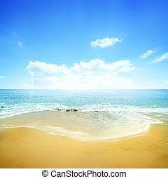 gouden, strand, en blauw, hemel