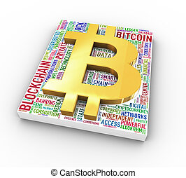 gouden, symbool, bitcoin, chainblock, wordcloud, 3d