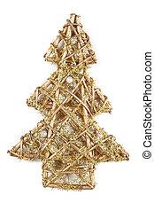 gouden, symbool, boompje, kerstmis