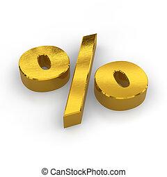 gouden, symbool, procent