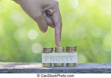 gouden, taste, zakelijk, wijzende, concept.., winst, woord, natuur, achtergrond., groene, vinger, munt