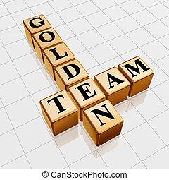 gouden, team, kruiswoordraadsel