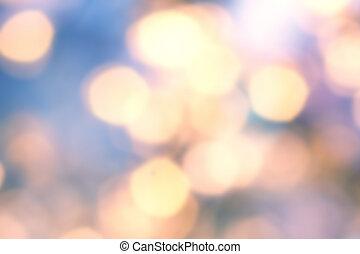 gouden, twinkled, feestelijk, bokeh, verdoezelen, lights., achtergrond, defocused, kerstmis, natuurlijke