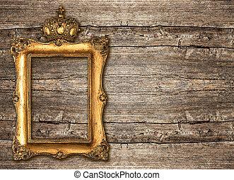 gouden, van hout vensterraam, kroon, achtergrond, op