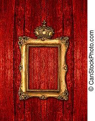 gouden, van hout vensterraam, kroon, achtergrond, op, rood