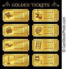 gouden, vector, bioscoop, kaartjes