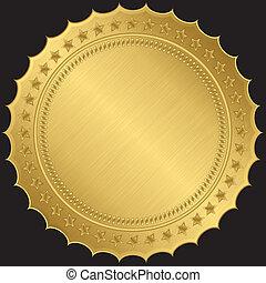 gouden, vector, etiket, leeg