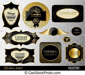 gouden, vector, retro, etiket