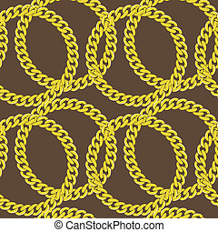 gouden, vector, seamless, ketting