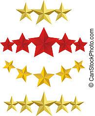 gouden, vector, vijf, sterretjes