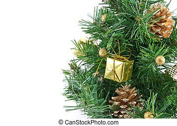 gouden, verfraaide, kerstboom, met, velen, kadootjes, en, vrijstaand, op wit