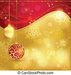 gouden, verstand, kerstmis, achtergrond, rood
