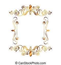 gouden, victoriaans, plein, stijl, etiket