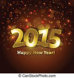 gouden, vlek, groet, nieuw, lichten, achtergrond, jaar, 2015, sparking, kaart, vrolijke