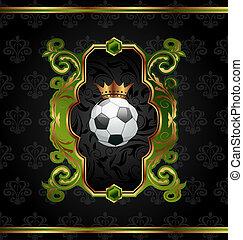 gouden, voetbal, kroon, etiket